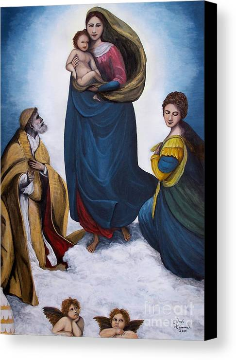 Sistine Madonna Canvas Print featuring the painting Sistine Madonna by Judy Kirouac