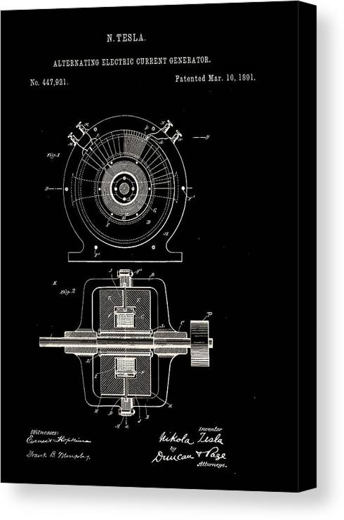 Tesla Ac Generator Canvas Print featuring the digital art Tesla Generator Patent 1891 by Claire Doherty
