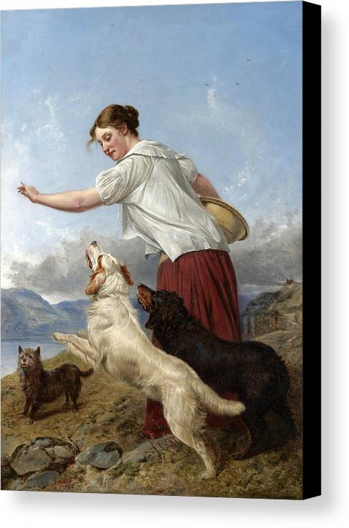 Richard Ansdell Canvas Print featuring the painting The Highland Lassie by Richard Ansdell