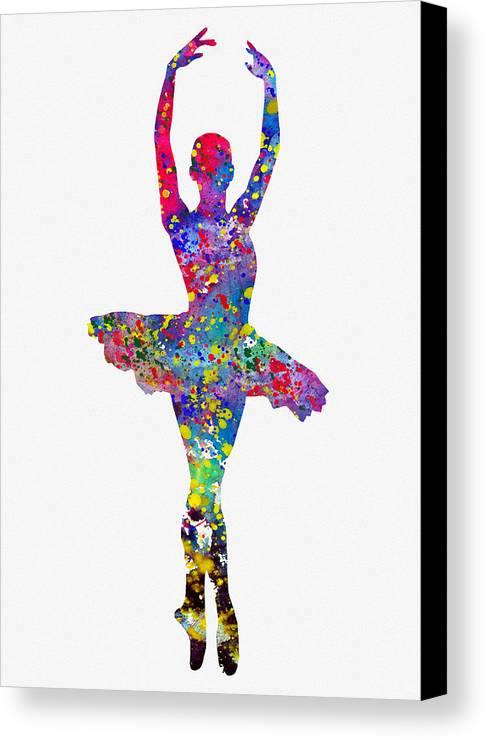 Ballet Dancer Canvas Print featuring the digital art Ballet Dancer-colorful by Erzebet S