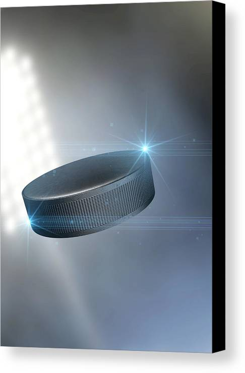 Hockey Canvas Print featuring the digital art Ball Flying Through The Air by Allan Swart