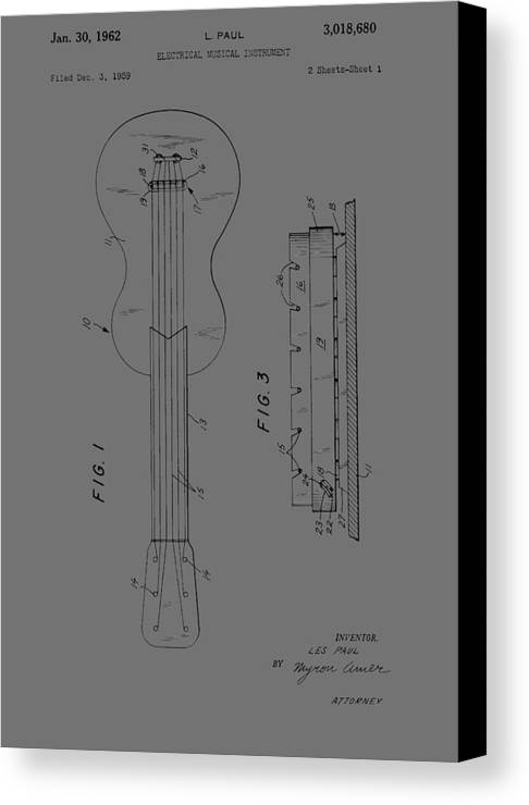 Les Paul Canvas Print featuring the photograph Les Paul Electric Guitar From 1959 by Chris Smith