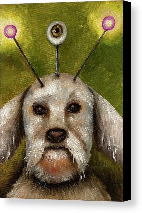 Dog Canvas Print featuring the painting Alien Dog by Leah Saulnier The Painting Maniac