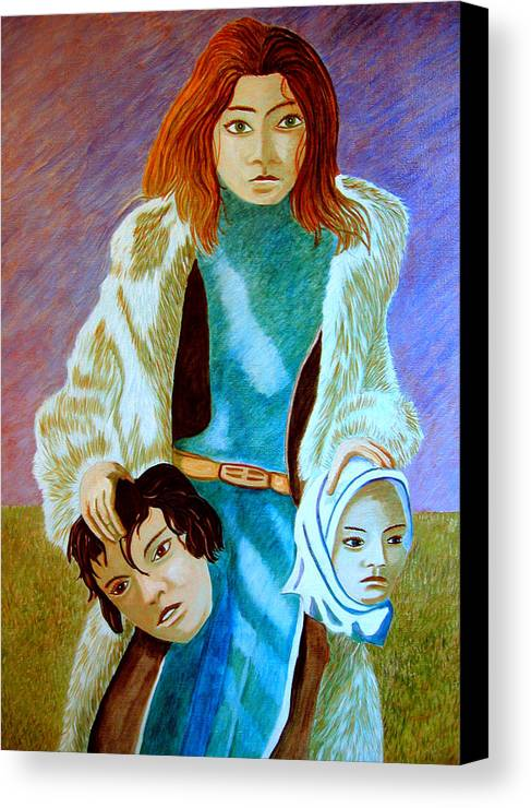 Identity (symbolic Art) Canvas Print featuring the painting Am I My Body Does My Identity Change When I Change My Body By A Total Make Over by Tanni Koens