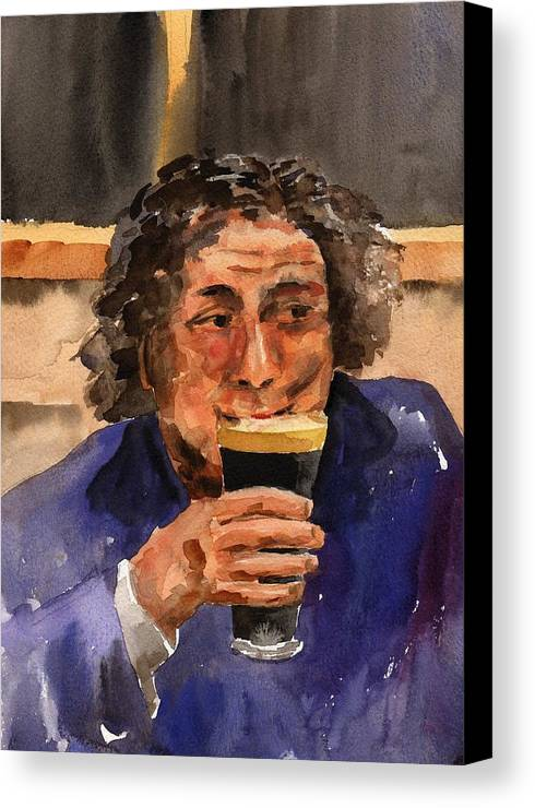 Canvas Print featuring the painting A Pint Please... Next Time. by Val Byrne