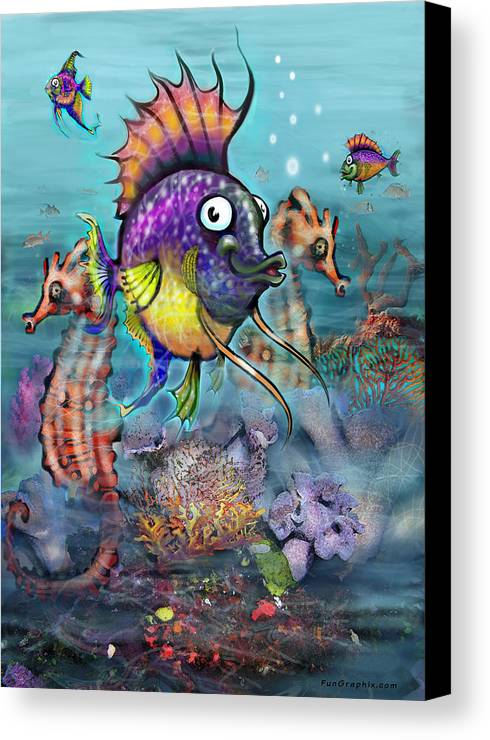 Aquarium Canvas Print featuring the painting Aquarium by Kevin Middleton