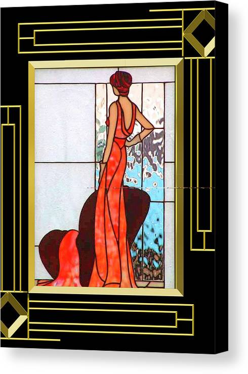 art deco lady in red canvas print canvas art by chuck. Black Bedroom Furniture Sets. Home Design Ideas