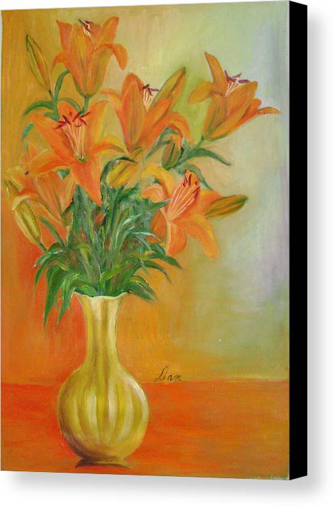 Floral Canvas Print featuring the painting Autumn Profusion by Lian Zhen