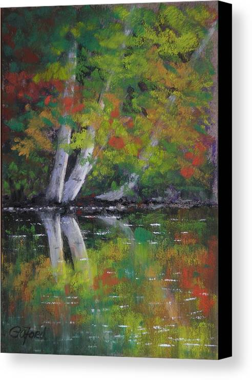 Pastel Canvas Print featuring the painting Autumn Reflections by Paula Ann Ford