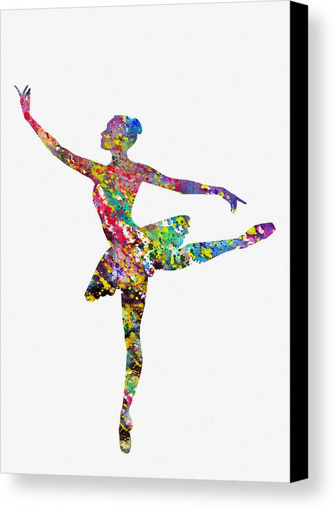 Ballet Dancer Canvas Print featuring the digital art Ballet Dancer-colorful by Erzebet S