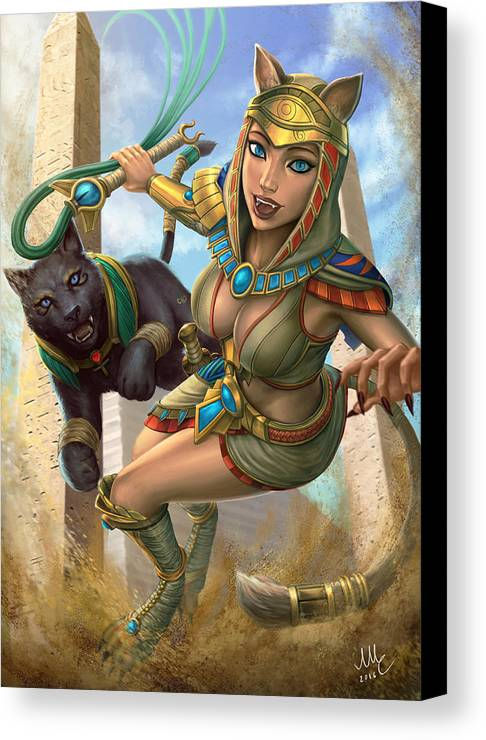 Bastet Canvas Print featuring the digital art Bastet - Smite by Mirco Cabbia