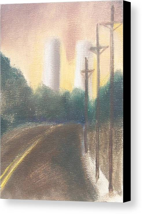 Landscape Canvas Print featuring the painting Bergen Turnpike Study by Ron Erickson