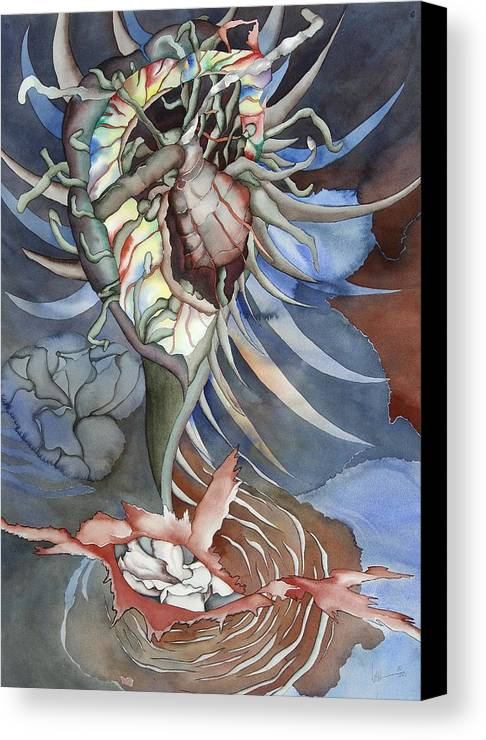 Seallife Canvas Print featuring the painting Between Two Worlds by Liduine Bekman
