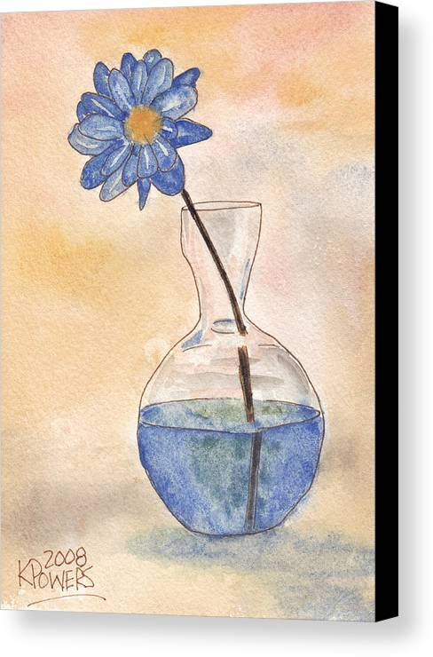 Blue Flower And Glass Vase Sketch Canvas Print Canvas Art By Ken