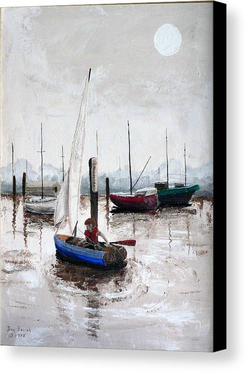 Blue Sailboat Canvas Print featuring the painting Boy In Blue Sailboat by Dan Bozich