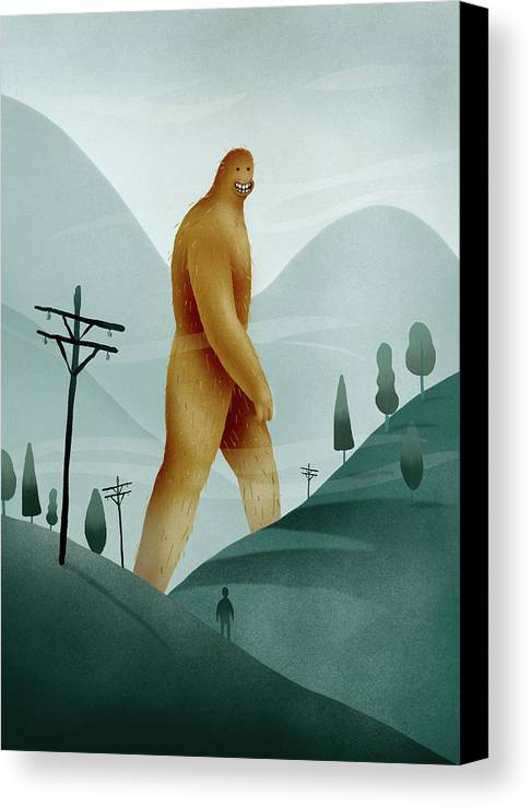 Giant Canvas Print featuring the painting Brief Encounter With The Tall Man by Lawrence Blankenbyl