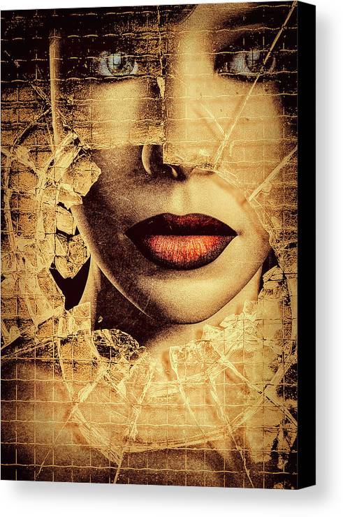 Woman Canvas Print featuring the photograph Broken Window by Bob Orsillo