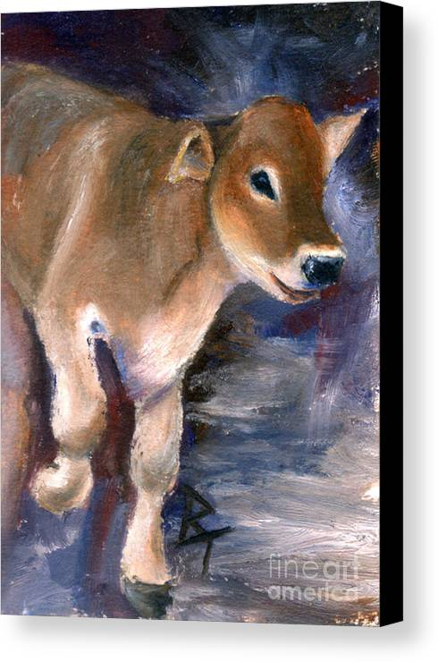 Cow Canvas Print featuring the painting Brown Swiss Calf Aceo by Brenda Thour