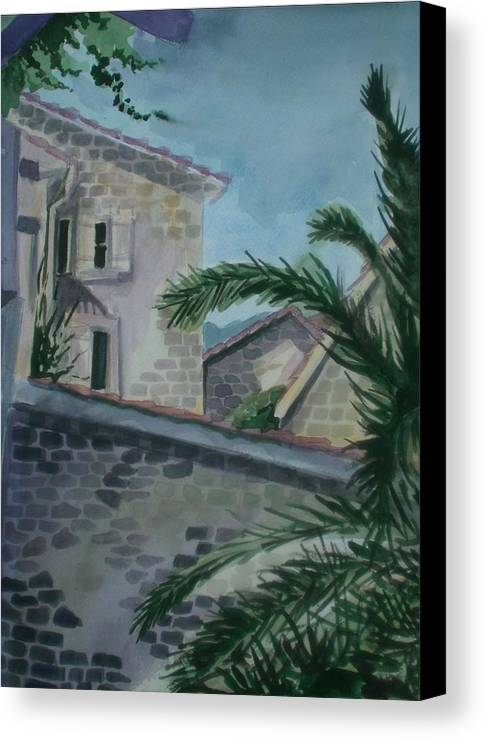 Montenegro Canvas Print featuring the painting Budva Old Town by Aleksandra Buha