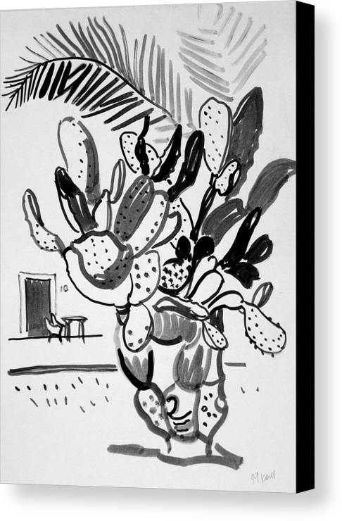 Cactus Canvas Print featuring the drawing Cactus And Palm by Vitali Komarov