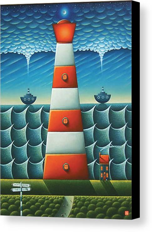 Lighthouse Canvas Print featuring the painting Calm Before The Storm by Connor Maguire