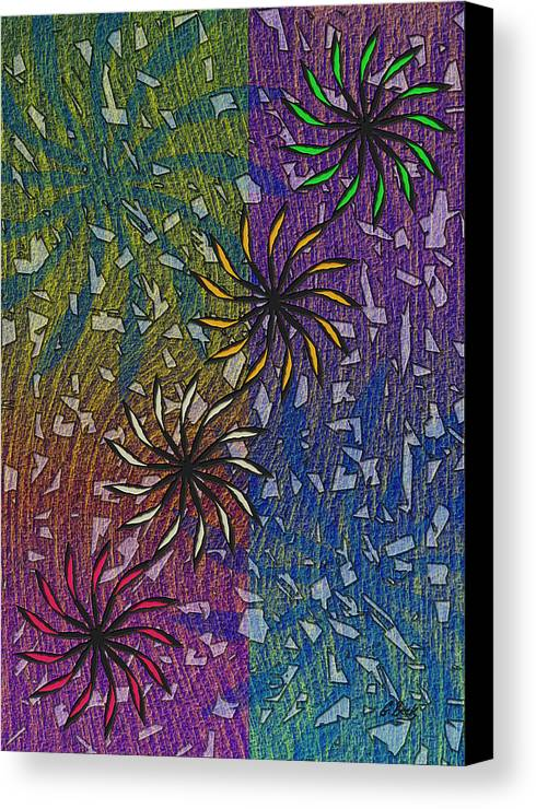 Celebration Abstract Design Art Fireworks Grafetti Gordon Beck Canvas Print featuring the painting Celebration by Gordon Beck