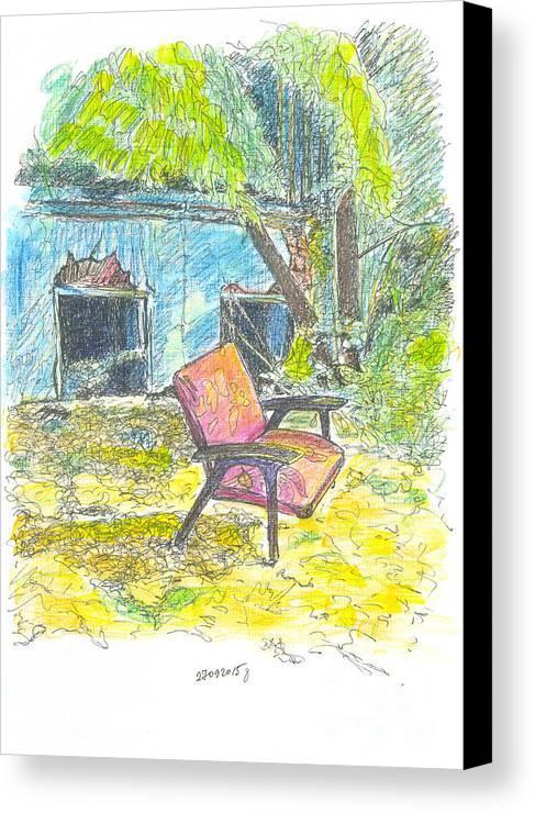 Contemporary Painting Canvas Print featuring the drawing Chair, 27 September, 2015 by Tatiana Chernyavskaya