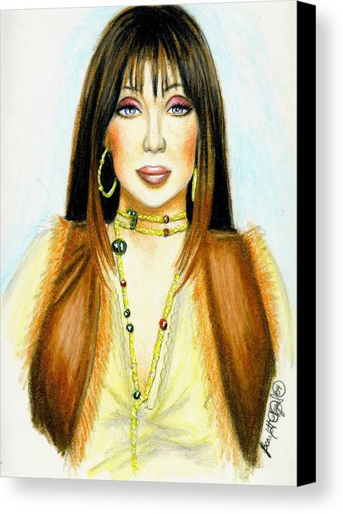 Woman Canvas Print featuring the drawing Cher by Scarlett Royal