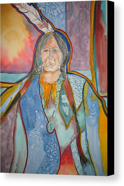 Native American Style Canvas Print featuring the painting Chief by K Hoover