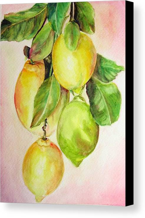 Still Life Canvas Print featuring the painting Citrons by Muriel Dolemieux