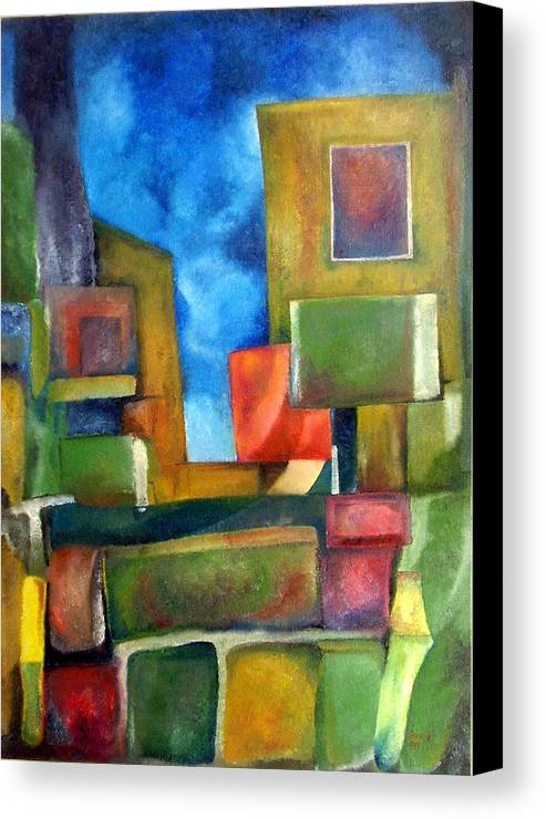 Abstract Canvas Print featuring the painting City by Jonatan Kor