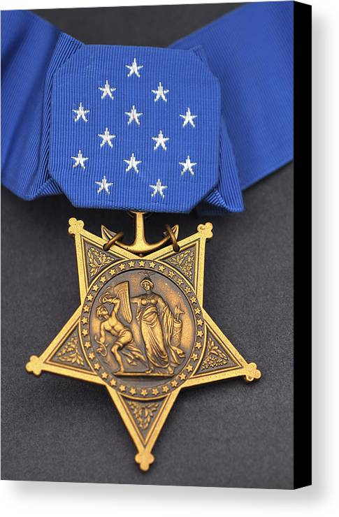 Medal Of Honor Canvas Print featuring the photograph Close-up Of The Medal Of Honor Award by Stocktrek Images