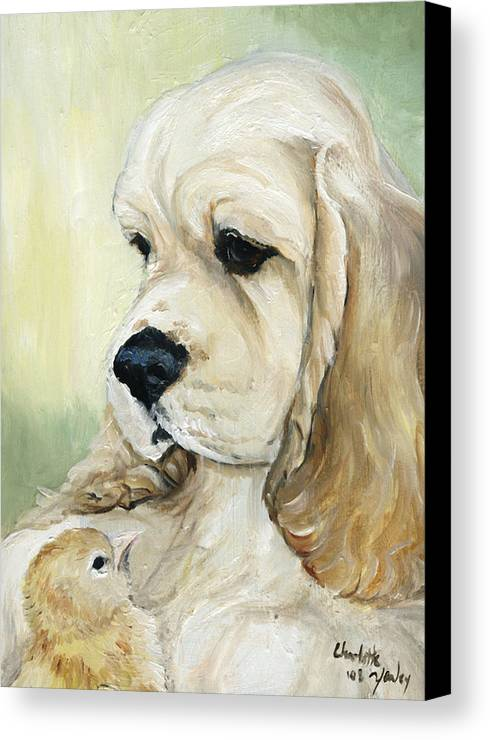 Dog Canvas Print featuring the painting Cocker Spaniel And Chick by Charlotte Yealey