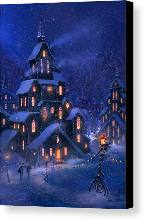 Christmas Canvas Print featuring the painting Coming Home by Philip Straub