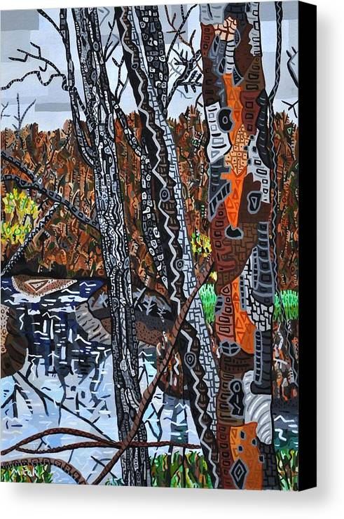 Crabtree Creek Raleigh North Carolina Greenway Abstract Landscape Canvas Print featuring the painting Crabtree Creek A View From The Greenway by Micah Mullen