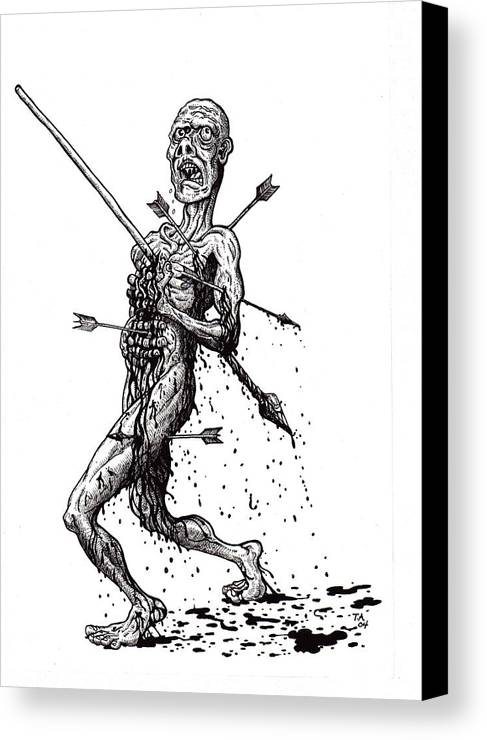 Dark Canvas Print featuring the drawing Death March by Tobey Anderson