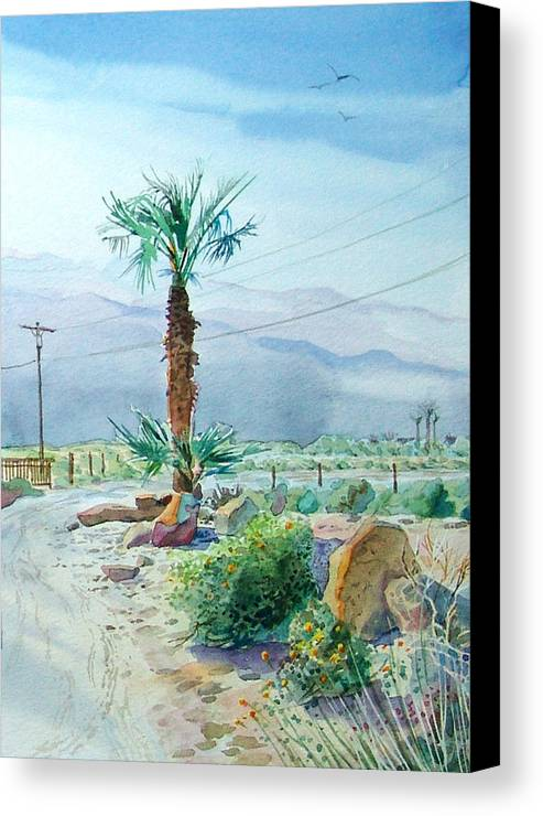 Watercolor Canvas Print featuring the painting Desert Palm by John Norman Stewart