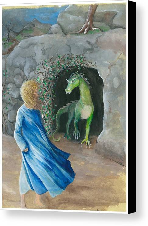 Dragon Canvas Print featuring the painting Dragon Princess 1 by Sally Balfany