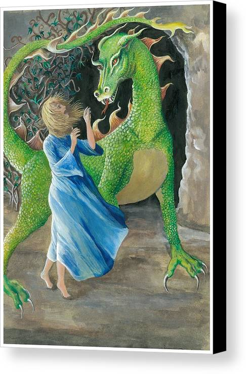 Dragon Canvas Print featuring the painting Dragon Princess 2 by Sally Balfany