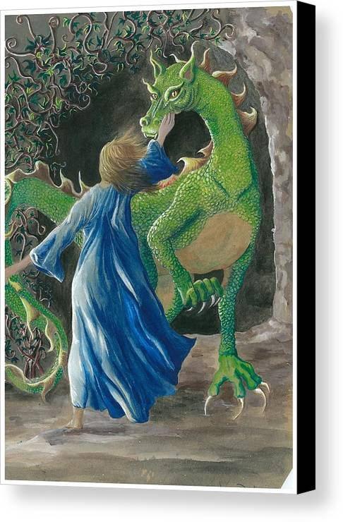Dragon Canvas Print featuring the painting Dragon Princess 3 by Sally Balfany