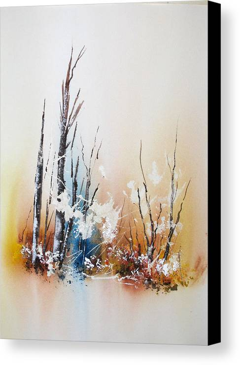 Snowy Scene Canvas Print featuring the painting Early Winter by Lynne Parker