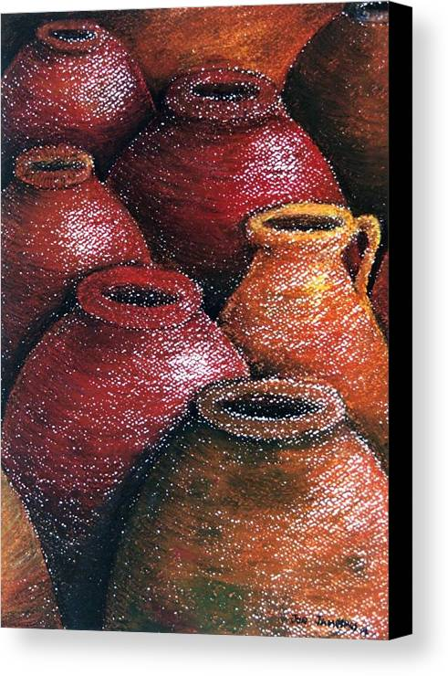 Earthen Canvas Print featuring the painting Earthen Vessels Iv by Jun Jamosmos