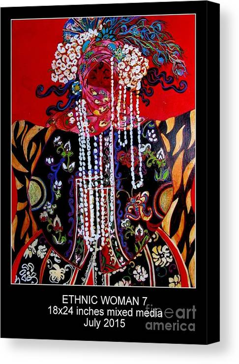 Red Black White Floral Woman Ethic Bold And Happy Canvas Print featuring the painting Ethnic Woman by Linda Arhurs
