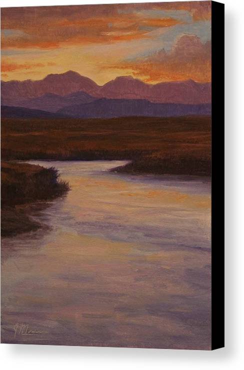 Landscape High Sierras Canvas Print featuring the painting Evening Calm by Joe Mancuso