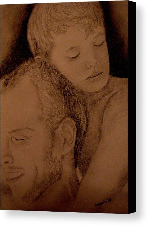 Portrait Canvas Print featuring the painting Father And Son by Glory Fraulein Wolfe