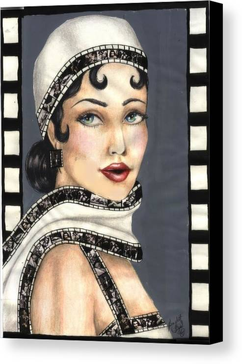 Portrait Canvas Print featuring the drawing Film 2 by Scarlett Royal