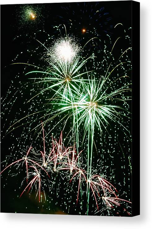 Fireworks Canvas Print featuring the photograph Fireworks 4 by Michael Peychich