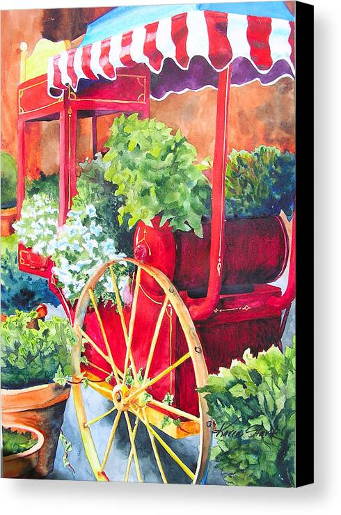 Floral Canvas Print featuring the painting Flower Wagon by Karen Stark