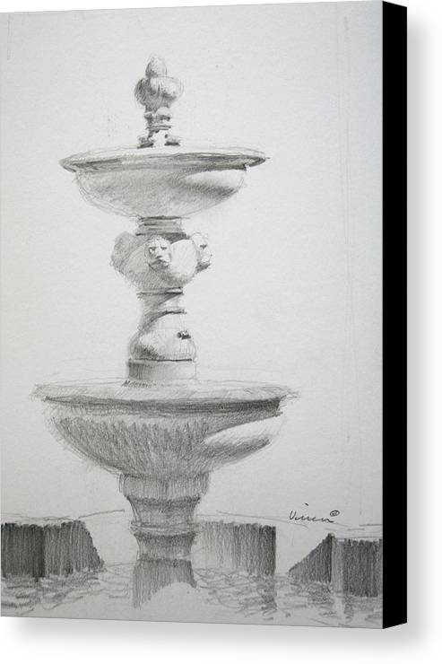 Graphite On Paper Canvas Print featuring the drawing Fountain One by Michael Vires