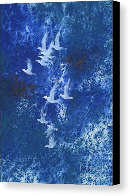 A Flight Of Doves Flying In Blue Sky. This Is A Contemporary Chinese Ink And Color On Rice Paper Painting With Simple Zen Style Brush Strokes.  Canvas Print featuring the painting Free by Mui-Joo Wee